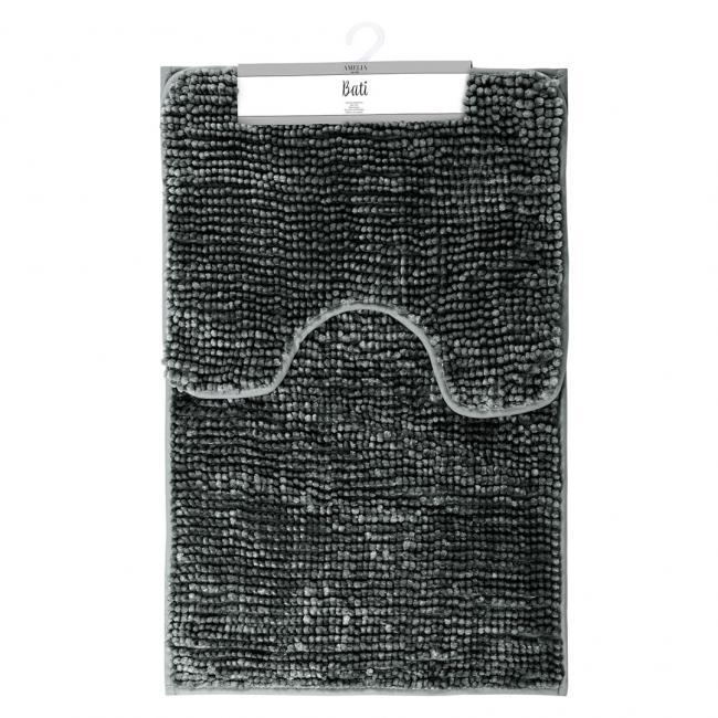 AmeliaHome - komplet dywaników łazienkowych - grafitowe - 2 sztuki