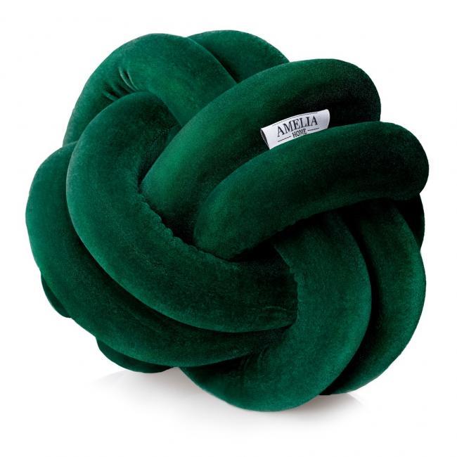 AmeliaHome - Poszewka - miękka - węzeł - butelkowa zieleń
