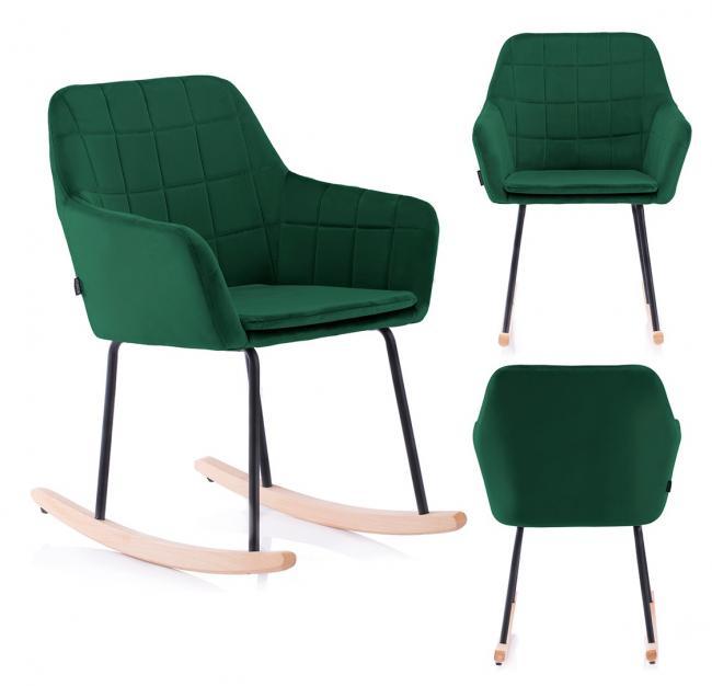 Krzesło na biegunach - butelkowa zieleń - welwet