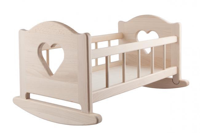Drewniana kołyska dla lalki - do 50 cm - różne kolory
