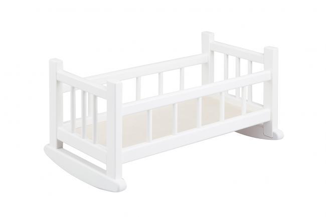 Drewniana kołyska dla lalki do 40 cm biała