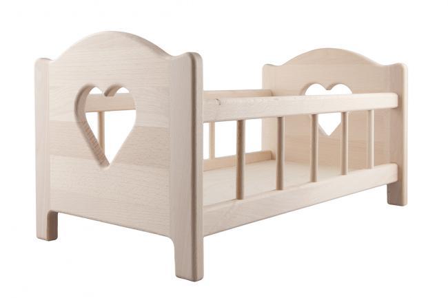 Drewniane łóżeczko dla lalki do 45 cm - różne kolory