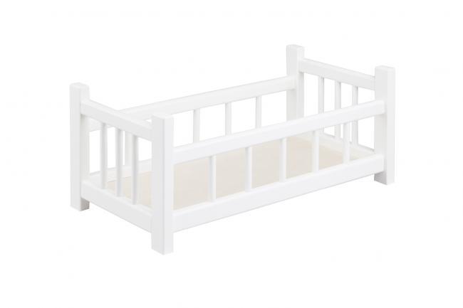 Drewniane łóżeczko dla lalki do 40 cm - białe