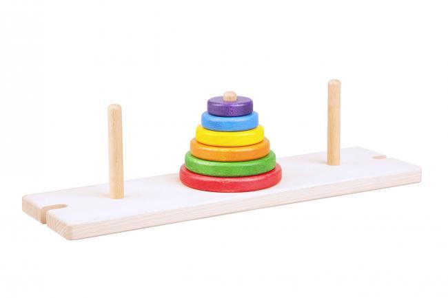 Kolorowe okrągłe drewniane klocki nakładane na bolce