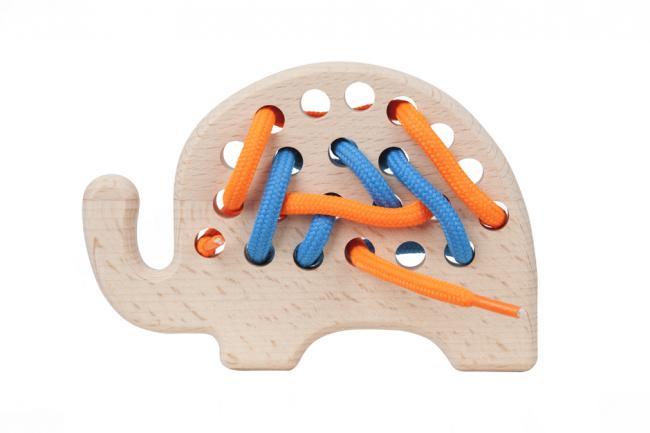 Drewniana zabawka - przeszywanka - słonik - różne kolory