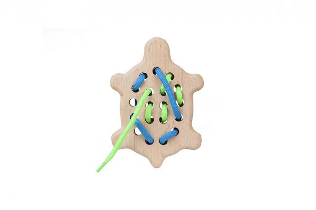 Drewniana zabawka - przeszywanka - zółwik - różne kolory