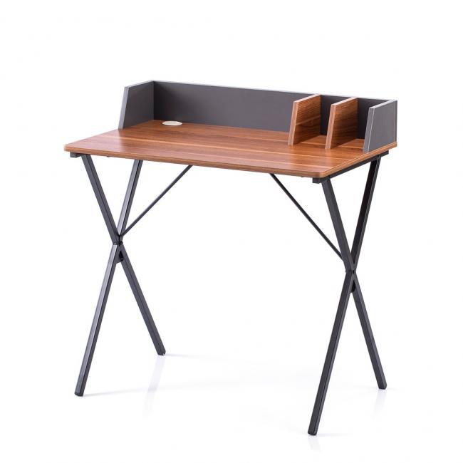 Biurko - stolik - kolor orzechowy - nóżki czarne