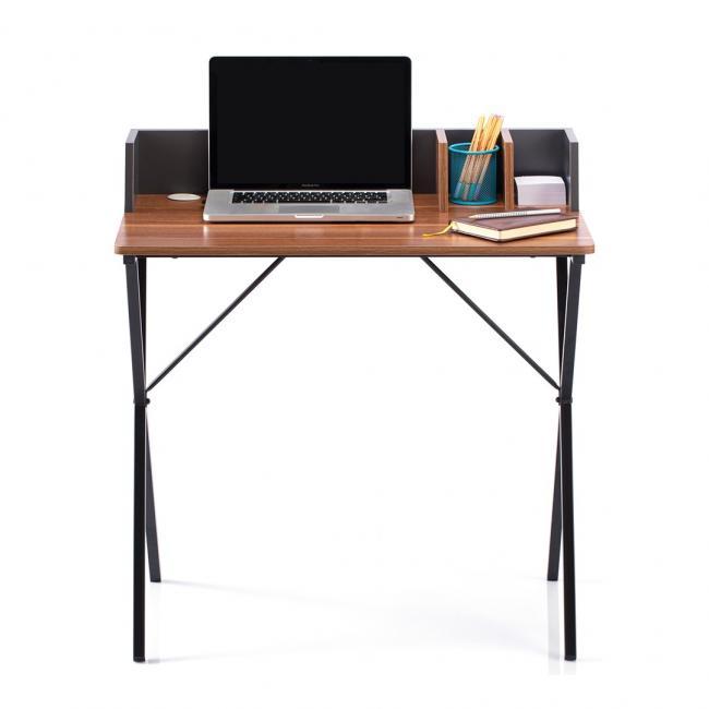 Biurko - stolik - kolor orzechowy - nóżki czarne - LOFT