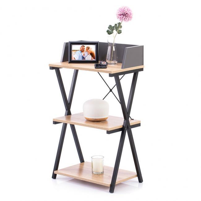 Biurko - stolik - kolor dębowy - nóżki czarne - LOFT