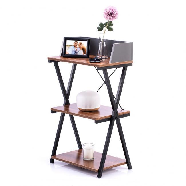 Biurko - stolik - kolor orzechowy - czarne nóżki - LOFT