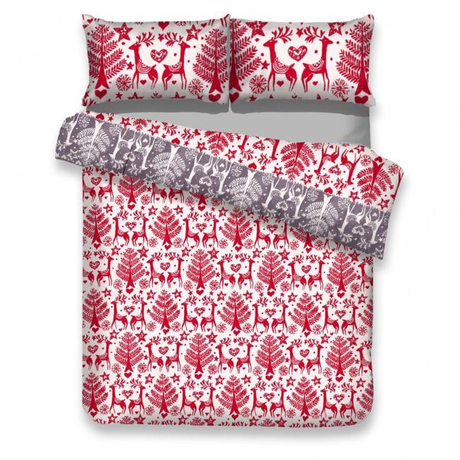 AmeliaHome - Pościel bawełniana RUDOLPH - wzór świąteczny