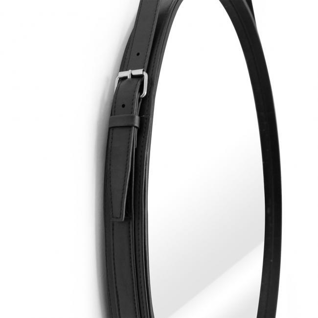 Lustro okrągłe w czarnej ramce - na pasku - 40 cm