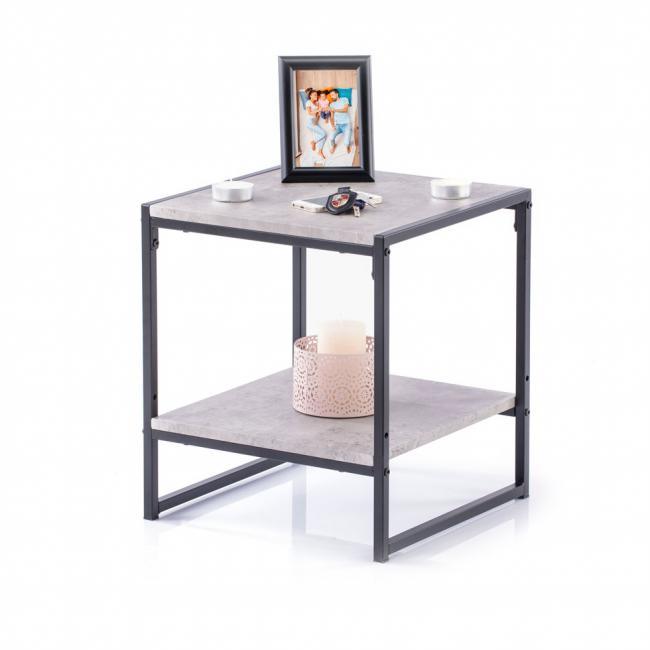 Stolik kawowy - kolor szary kamień - 45 x 40 x 40 cm