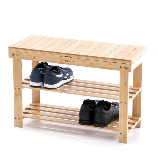 Półka na buty - drewno bambusowe - 70 x 28 x 45 cm