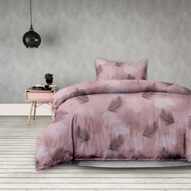 AmeliaHome - pościel z bawełny -  135 x200 cm + 80 x 80 cm - różowe piórka