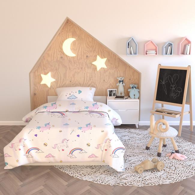 AmeliaHome - pościel dla dzieci - bawełna - 135 x200 cm + 40 x 60 cm + 80 x 80 cm  - JEDNOROŻEC