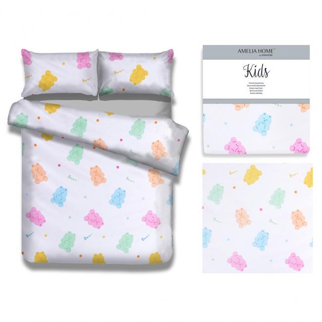 AmeliaHome - pościel dla dzieci - bawełna - 135 x 200 cm  + 40 x 60 cm  + 80 x 80 cm - MISIE