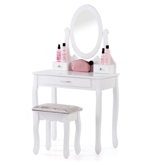Toaletka biała z taboretem