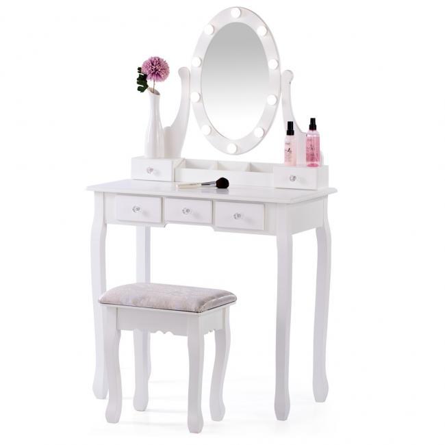 Toaletka biała z 5 szufladami i oświetleniem LED