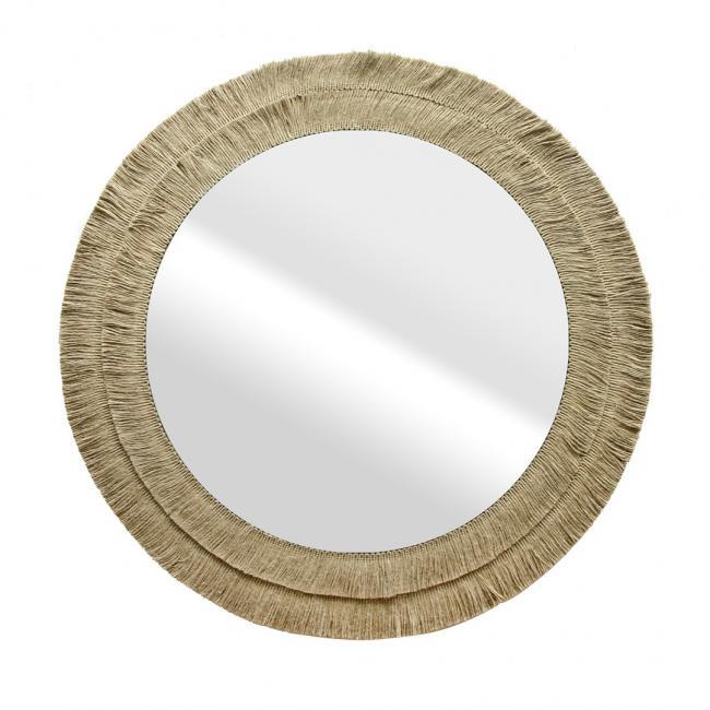 Lustro okrągłe  w ramie z juty - 70 cm