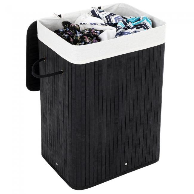 Kosz na pranie - bambusowy czarny