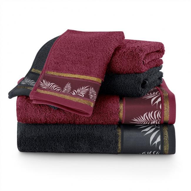 AmeliaHome - Ręczniki 100 bawełna - zestaw 6 sztuk - bordowy + czarny
