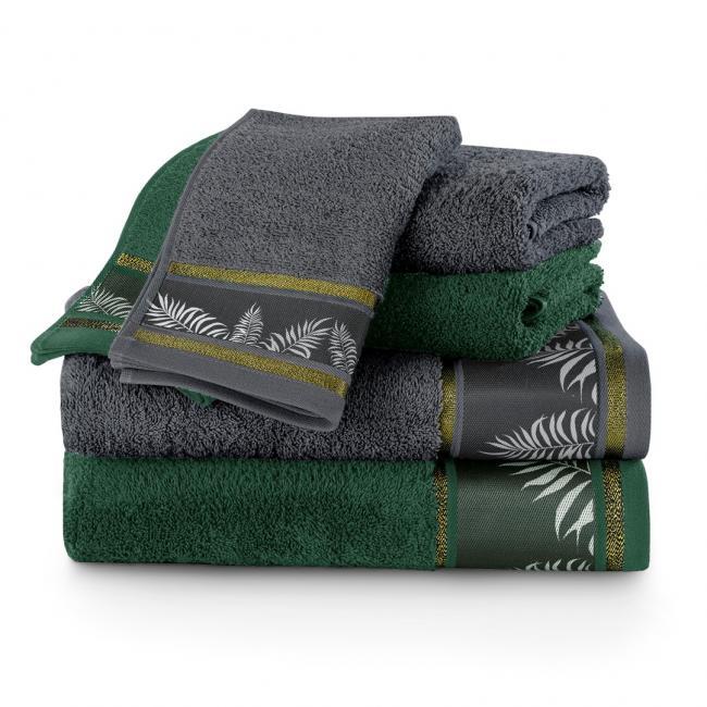 AmeliaHome - Ręczniki 100 bawełna - zestaw 6 sztuk - grafitowy + butelkowa zieleń