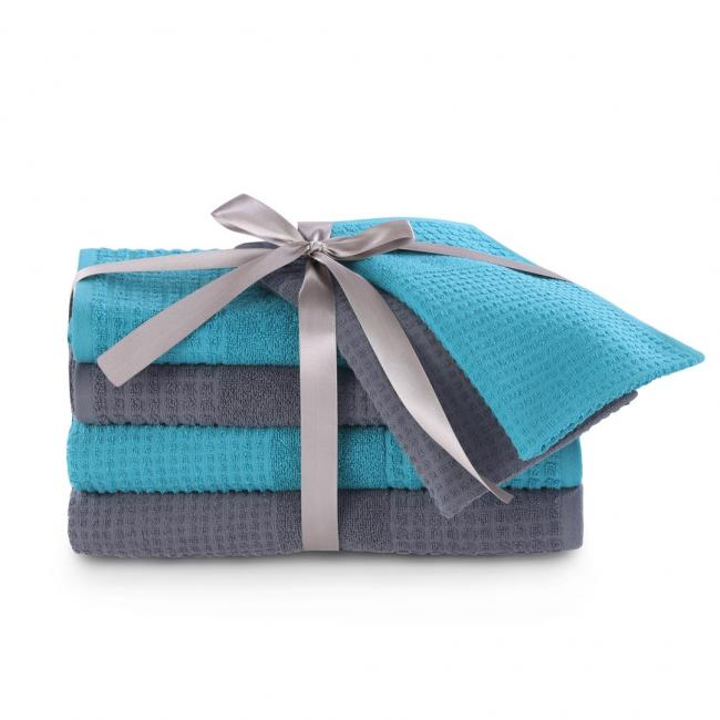 AmeliaHome - Ręczniki 100 bawełna - zestaw 6 sztuk - turkusowy + grafitowy