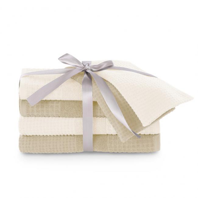 AmeliaHome - Ręczniki 100 bawełna - zestaw 6 sztuk - kremowy + beżowy