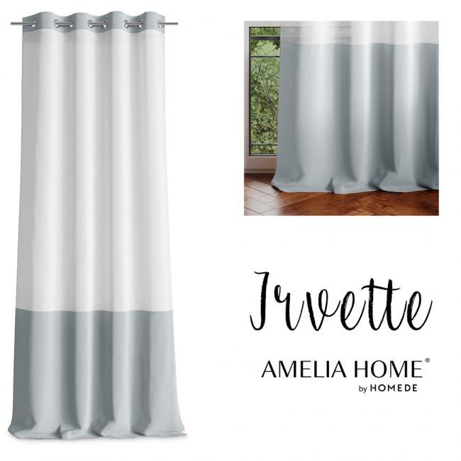AmeliaHome - firanka srebrna - przelotki - 140x270 cm