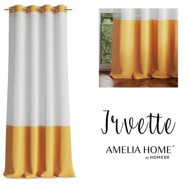 AmeliaHome - firanka żółta - przelotki - 140x270 cm