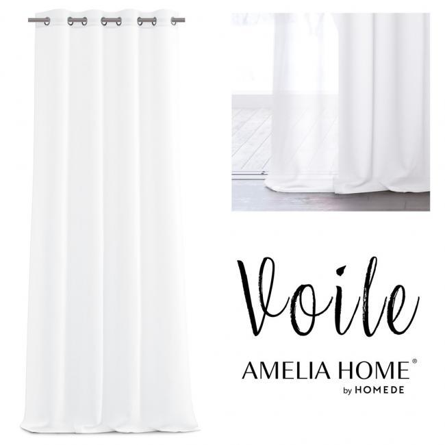 AmeliaHome - firanka biała - przelotki - 140x270 cm