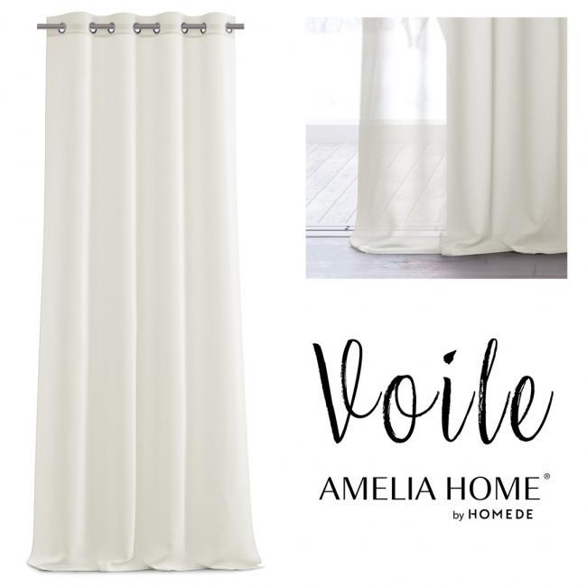 AmeliaHome - firanka kremowa - przelotki - 140x270 cm