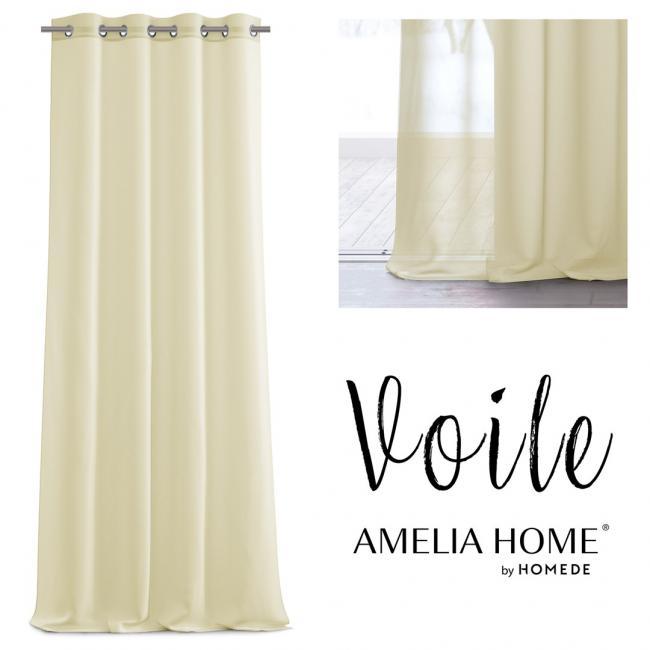 AmeliaHome - firanka ecru - przelotki - 140x270 cm