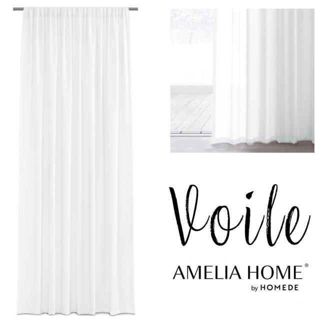 AmeliaHome - firanka biała - taśma - 160x250 cm