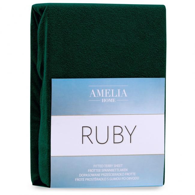 AmeliaHome  - Prześcieradło z gumką 100-120x200+30 - butelkowa zieleń