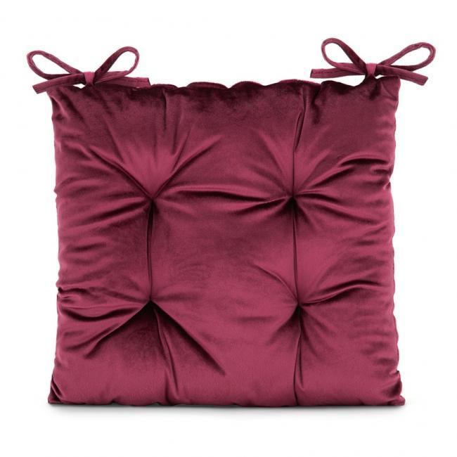 Amelia Home - poduszka na krzesło welwetowa - 40x40 cm - bordowa