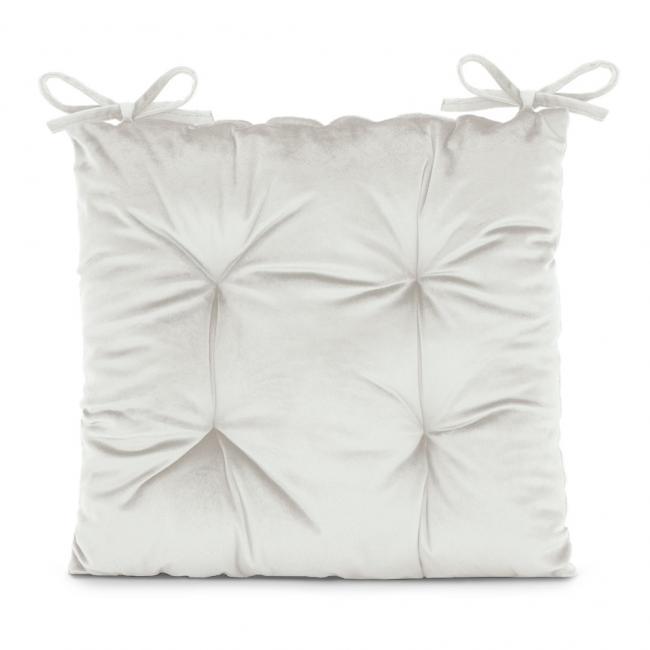 Amelia Home - poduszka na krzesło welwetowa - 40x40 cm - biała