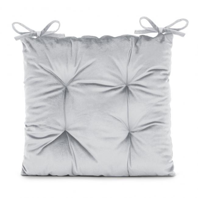 Amelia Home - poduszka na krzesło welwetowa - 40x40 cm - szara