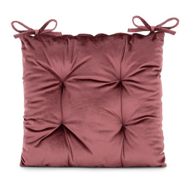 Amelia Home - poduszka na krzesło welwetowa - 40x40 cm - różowa