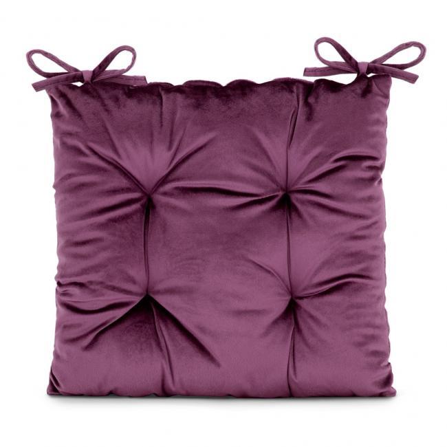 Amelia Home - poduszka na krzesło welwetowa - 40x40 cm - śliwkowa