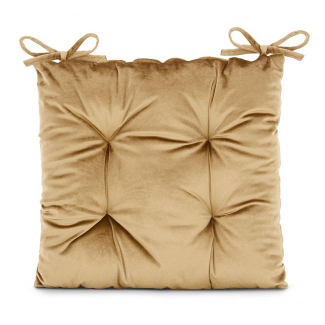 Amelia Home - poduszka na krzesło welwetowa - 40x40 cm - musztardowy