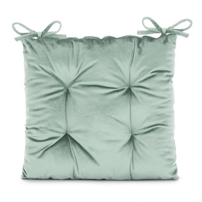 Amelia Home - poduszka na krzesło welwetowa - 40x40 cm - miętowa