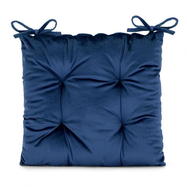 Amelia Home - poduszka na krzesło welwetowa - 40x40 cm - granatowa