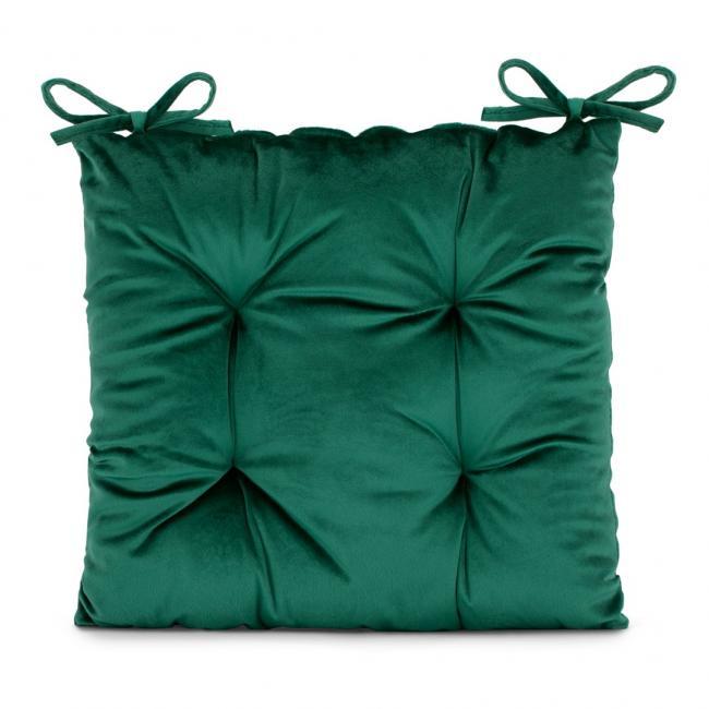 Amelia Home - poduszka na krzesło welwetowa - 40x40 cm - ciemnozielona