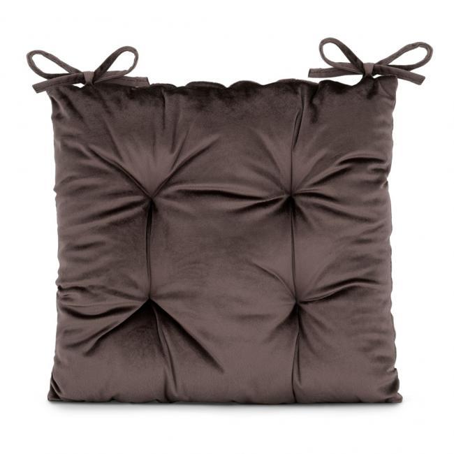 Amelia Home - poduszka na krzesło welwetowa - 40x40 cm - ciemny brąz