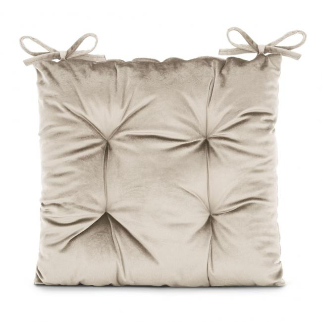 Amelia Home - poduszka na krzesło welwetowa - 40x40 cm - kremowa