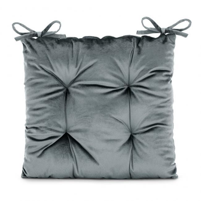 Amelia Home - poduszka na krzesło welwetowa - 40x40 cm - grafitowa