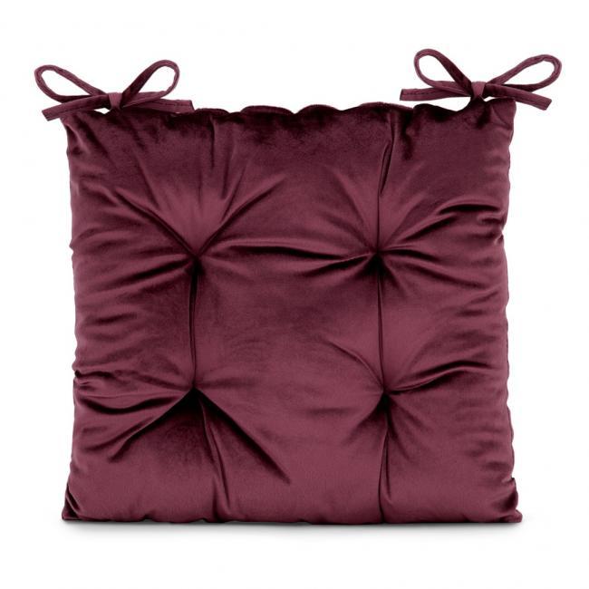 Amelia Home - poduszka na krzesło welwetowa - 40x40 cm - burgundowa