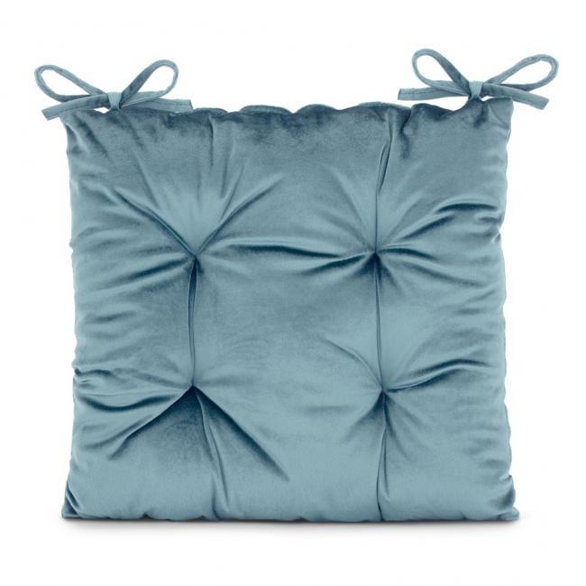 Amelia Home - poduszka na krzesło welwetowa - 40x40 cm - niebieska
